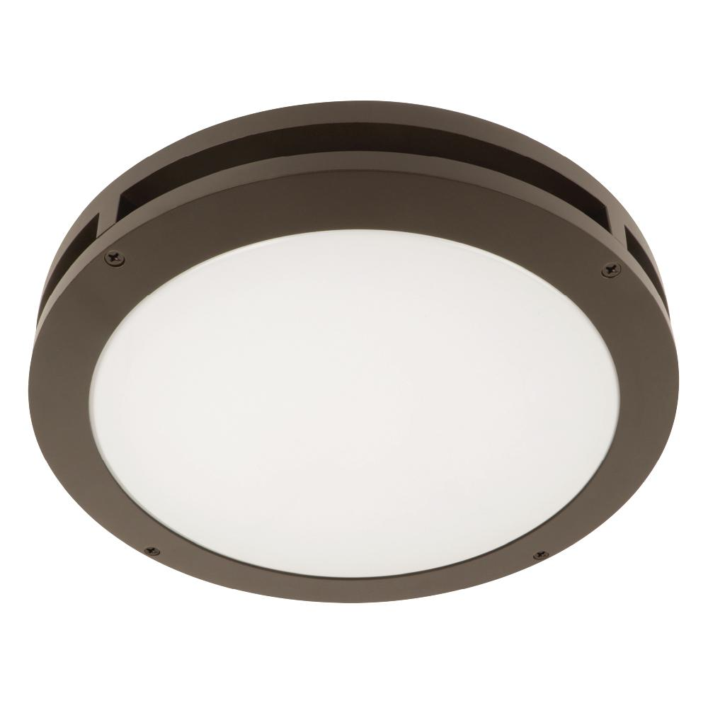 Feit Electric 13 in. 18.5-Watt Bronze Outdoor Integrated LED Flush-Mount Ceiling Canopy Wall Pack Light