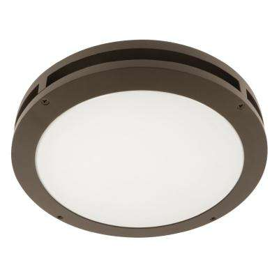 13 in. 18.5-Watt Bronze Outdoor Integrated LED Flush-Mount Ceiling Canopy Wall Pack Light (3-Pack)