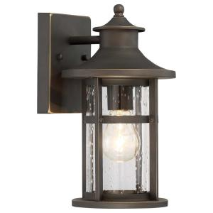 Highland Ridge Collection 1-Light Oil Rubbed Bronze with Gold Highlights Outdoor Wall Lantern Sconce