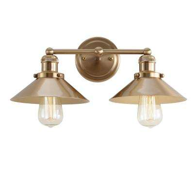 August 17.5 in. 2-Light Metal Brass Gold Vanity Light