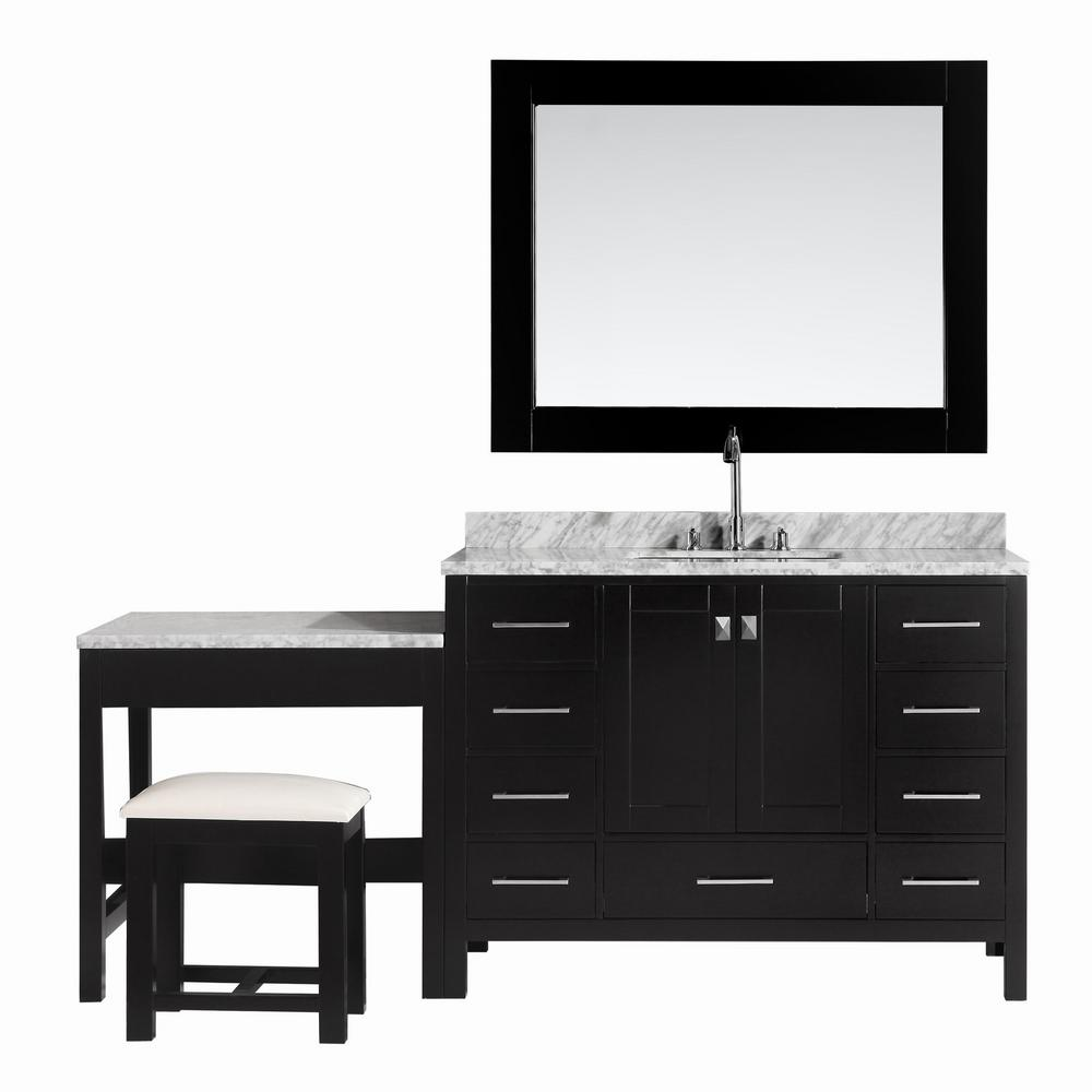Design Element London 48 In W X 22 D Vanity Espresso With Marble Top Carrara White Mirror And Makeup Table