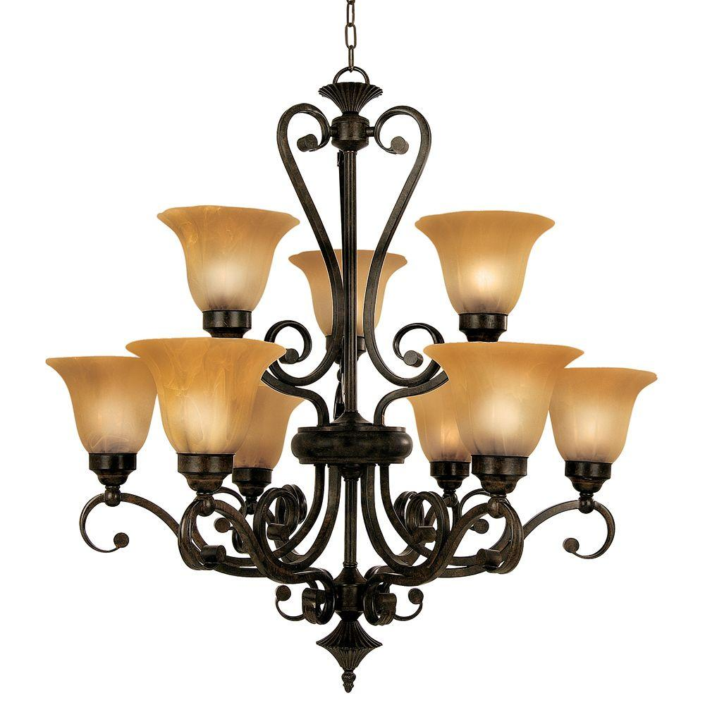 Yosemite Home Decor Florence Collection 9-Light Dark Venetian Bronze Hanging Chandelier with Marble Sunset Glass Shade