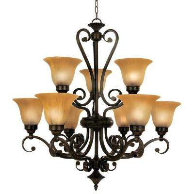Florence Collection 9-Light Dark Venetian Bronze Hanging Chandelier with Marble Sunset Glass Shade