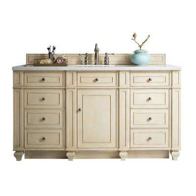 Bristol 60 in. W Single Bath Vanity in Vintage Vanilla with Solid Surface Vanity Top in Arctic Fall with White Basin