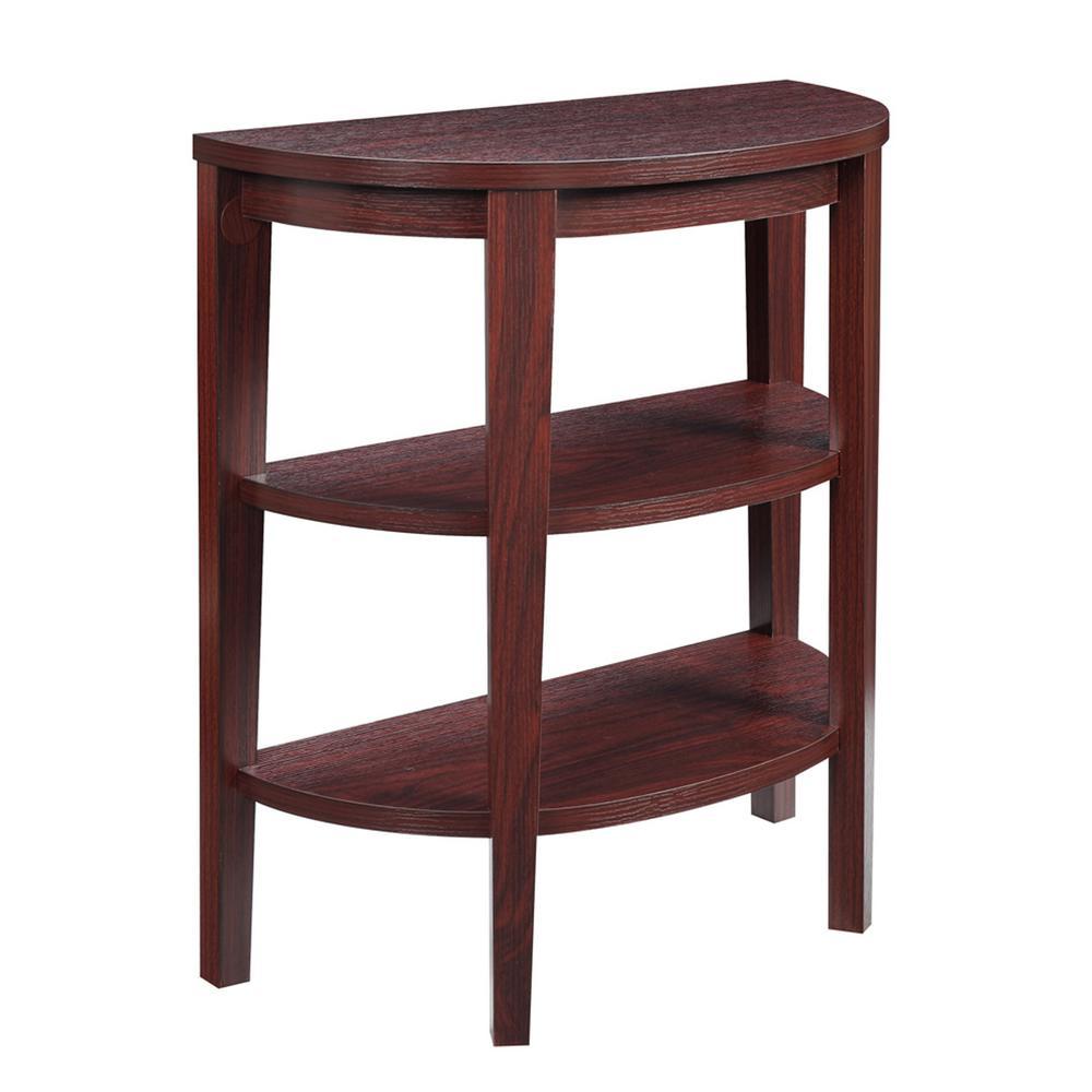 Convenience Concepts Newport 3 Shelf Mahogany Console Table