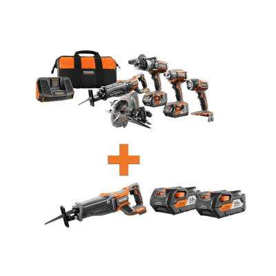 18-Volt Lithium-Ion Cordless 5-Tool Combo w/Bonus OCTANE Brushless Reciprocating Saw & (2) 4.0Ah Battery Packs