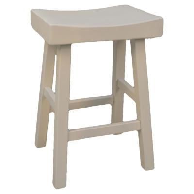 Colborn 25 in. Antique White Thick Saddle Seat Stool