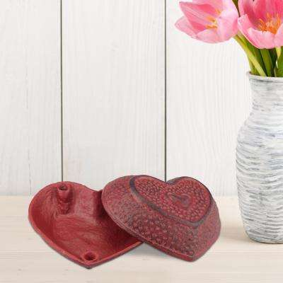 5 in. x 2.5 in. Red Cast Iron Heart Shaped Trinket Box