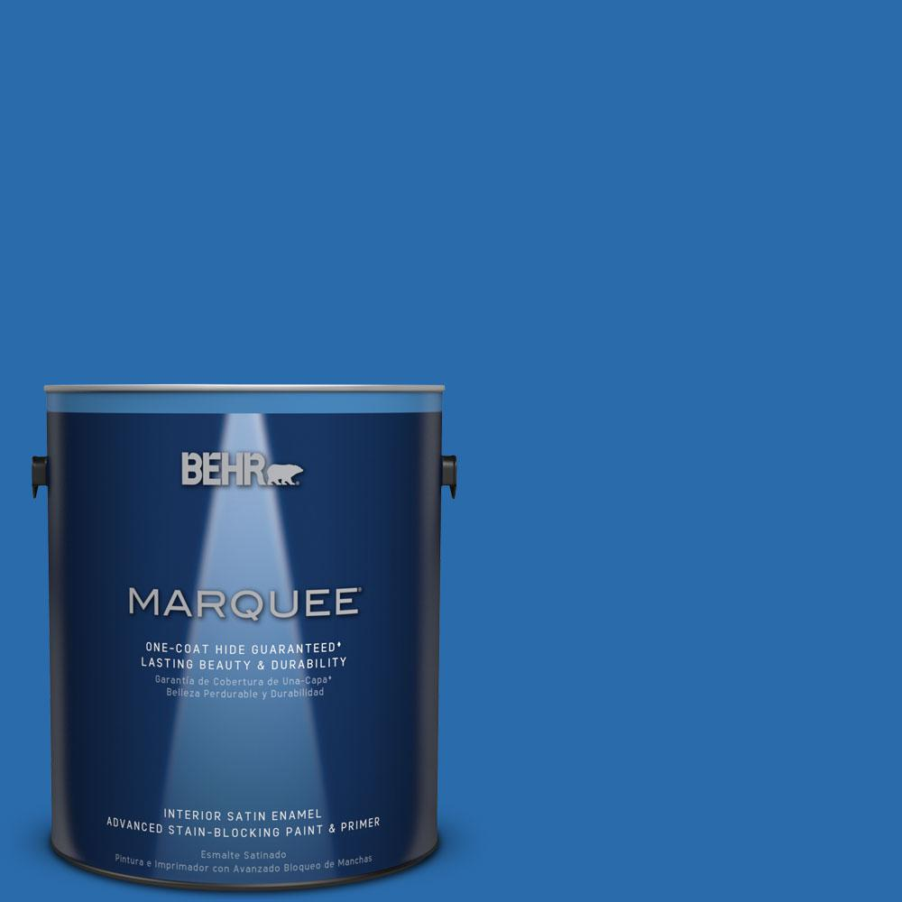 1 gal. #MQ4-24 Electric Blue One-Coat Hide Satin Enamel Interior Paint
