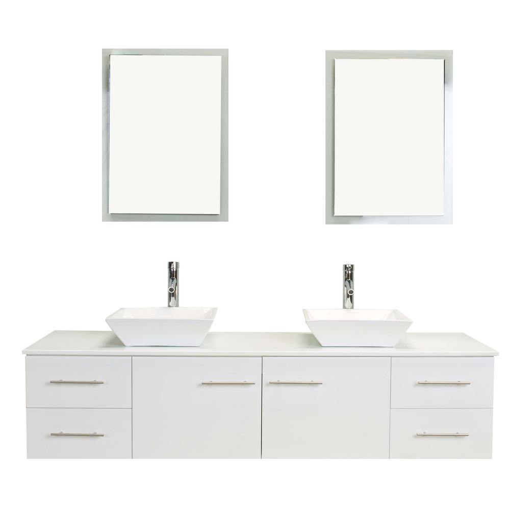 Eviva Totti Wave 60 In W X 16 In D X 22 In H Vanity In White With