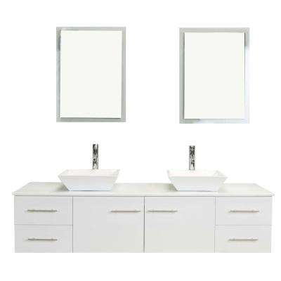 Totti Wave 60 in. W x 16 in. D x 22 in. H Vanity in White with Glassos Vanity Top in White with White Double Basin