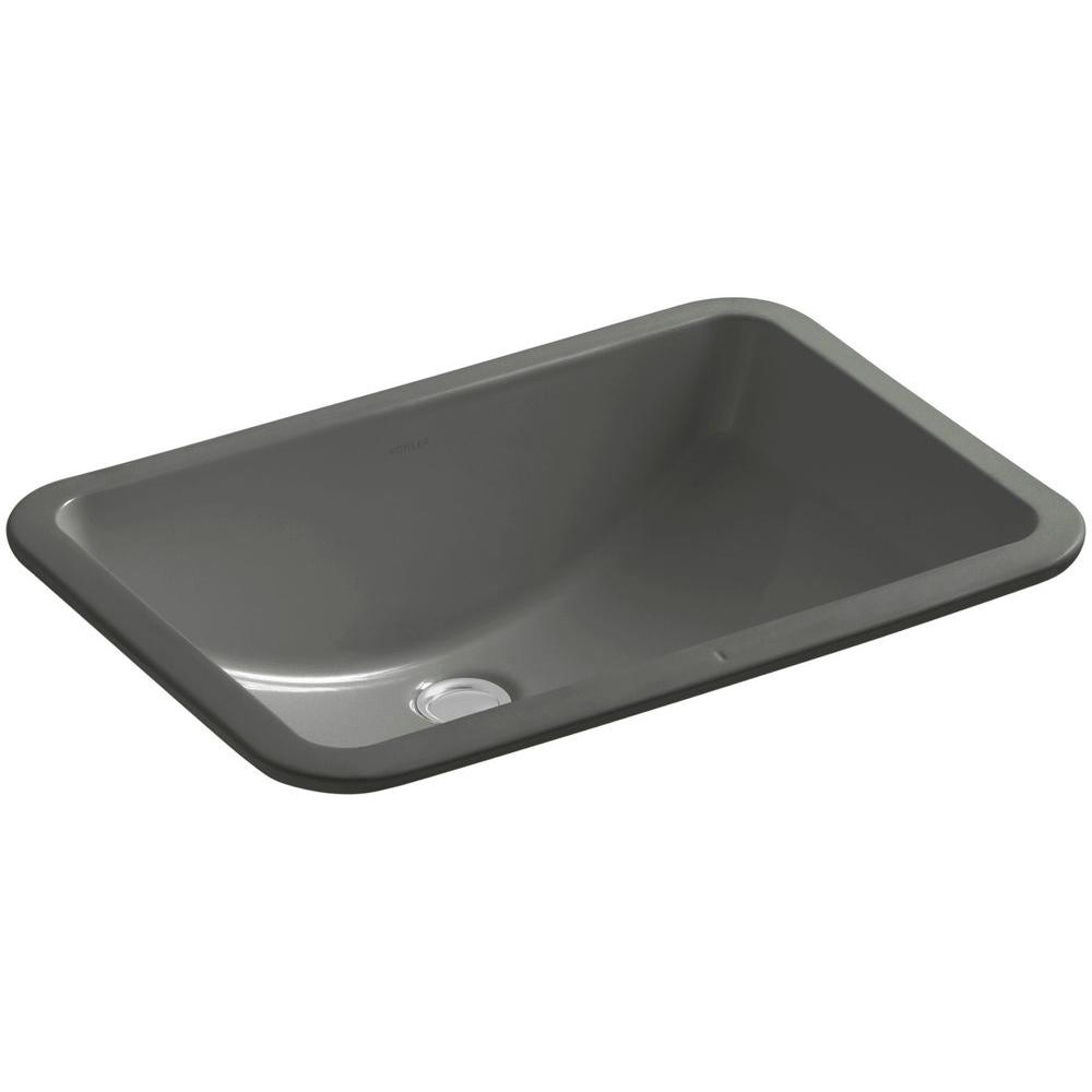 "KOHLER Ladena 20 7/8"" Undermount Bathroom Sink in Thunder Grey with  Overflow Drain"
