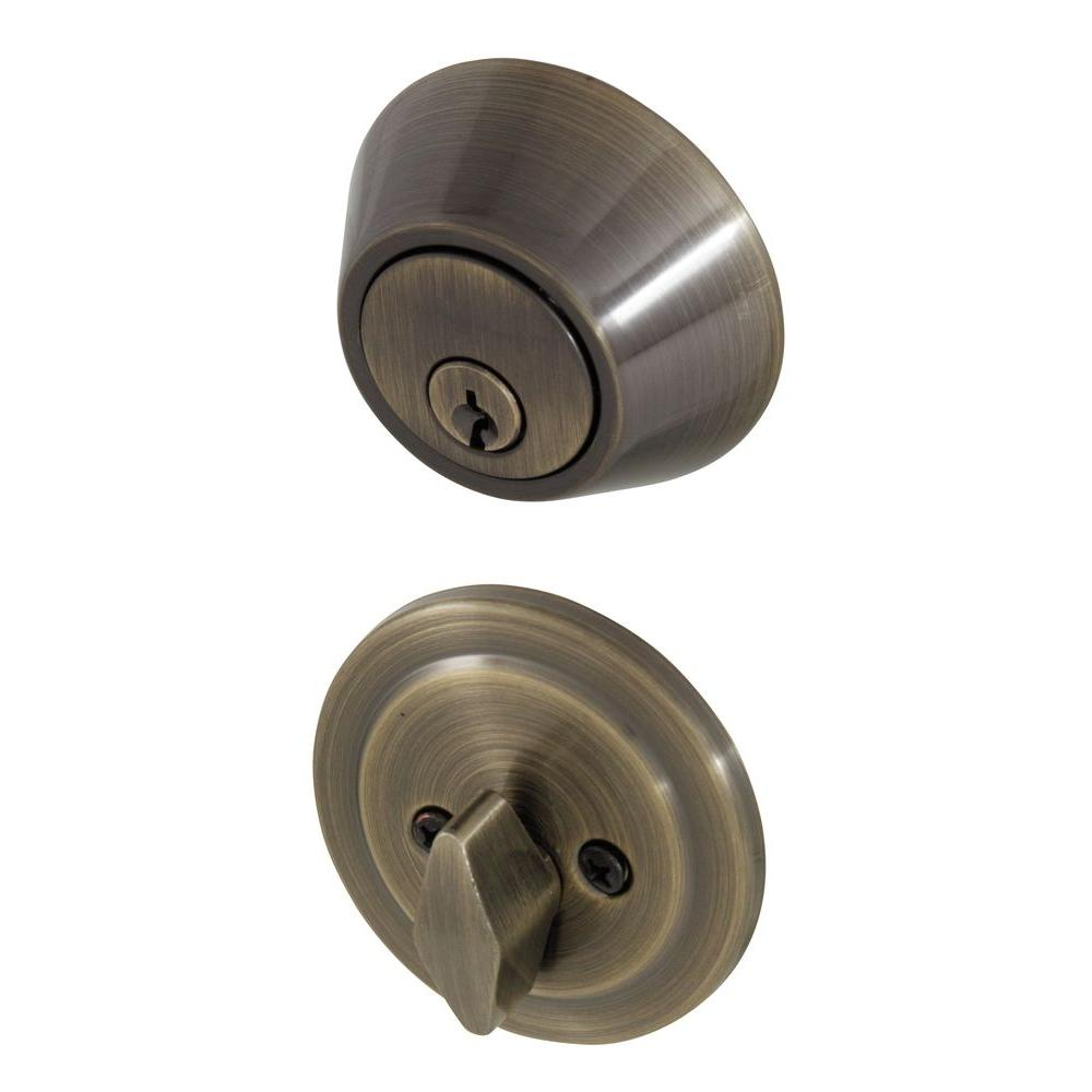 Single Cylinder Antique Brass Deadbolt