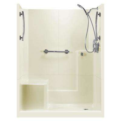 60 in. x 33 in. x 77 in. Freedom 3-Piece Low Threshold Shower Stall in Biscuit LHS Molded Seat Accessories Right Drain