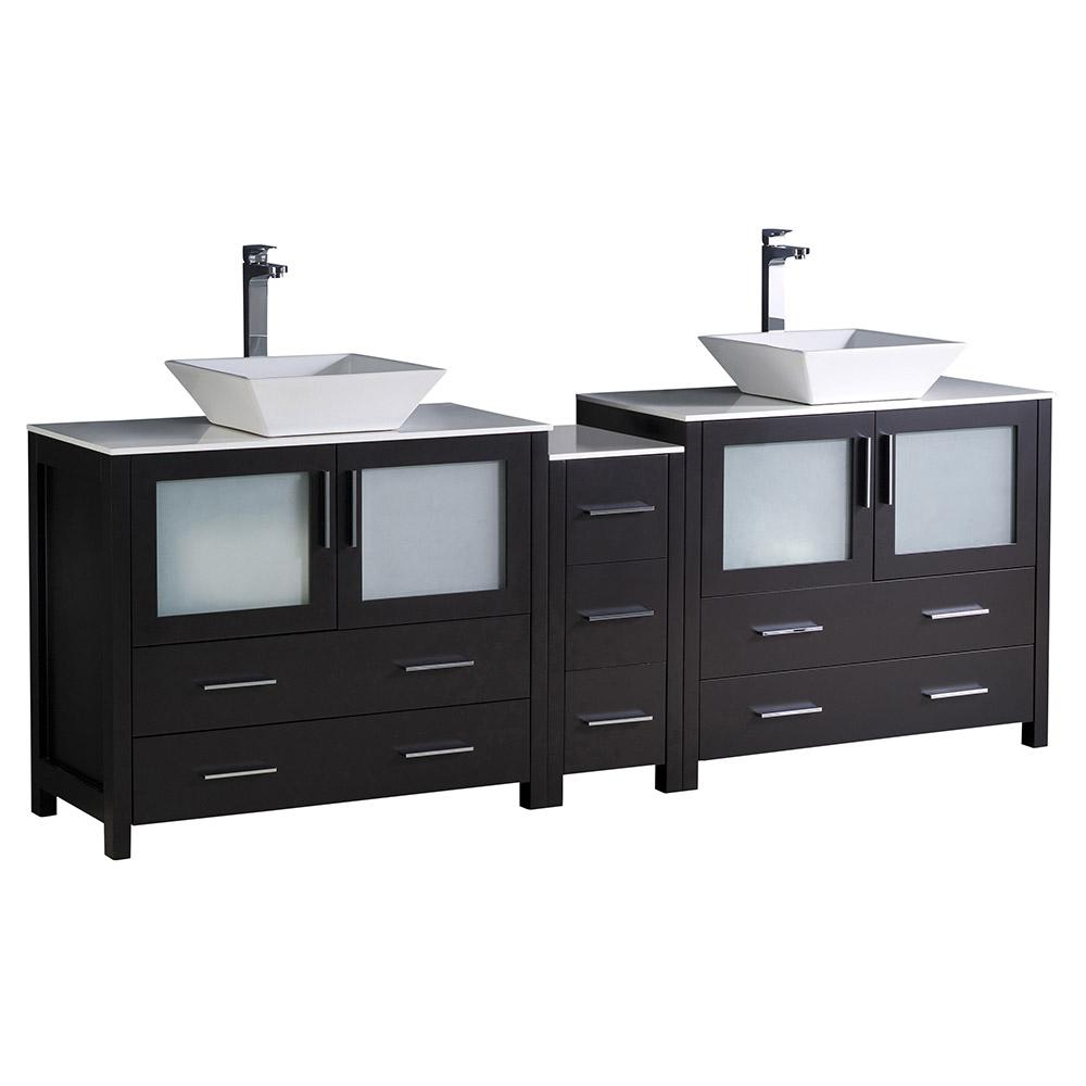 Fresca Double Vanity Espresso Glass Stone Vanity Top White Basins