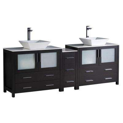 Torino 84 in. Double Vanity in Espresso with Glass Stone Vanity Top in White with White Basins
