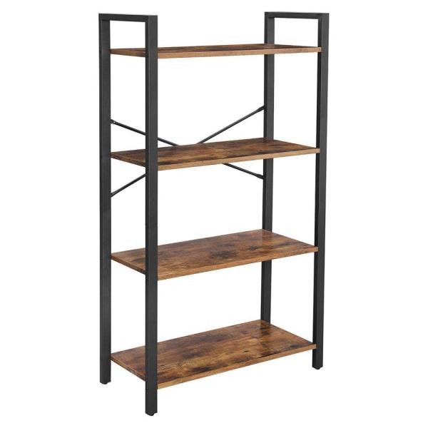 47.2 in. H Rustic Brown and Black Wood and Metal 4-Tier Bookcase with Criss Cross Back