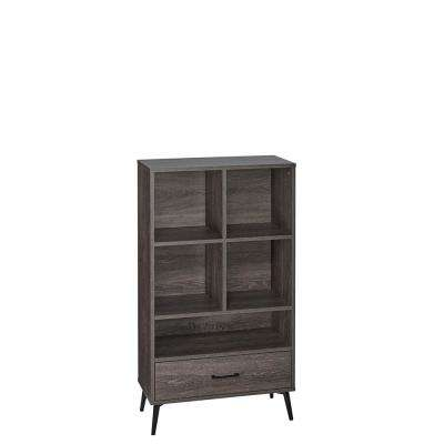 Woodbury Weathered Wood Storage Cabinet with Cubbies and Drawer