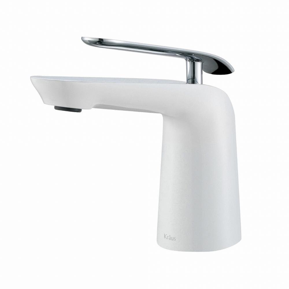 Kraus Seda Single Hole Single Handle Basin Bathroom Faucet In Chrome And White Fus 1821ch Wh