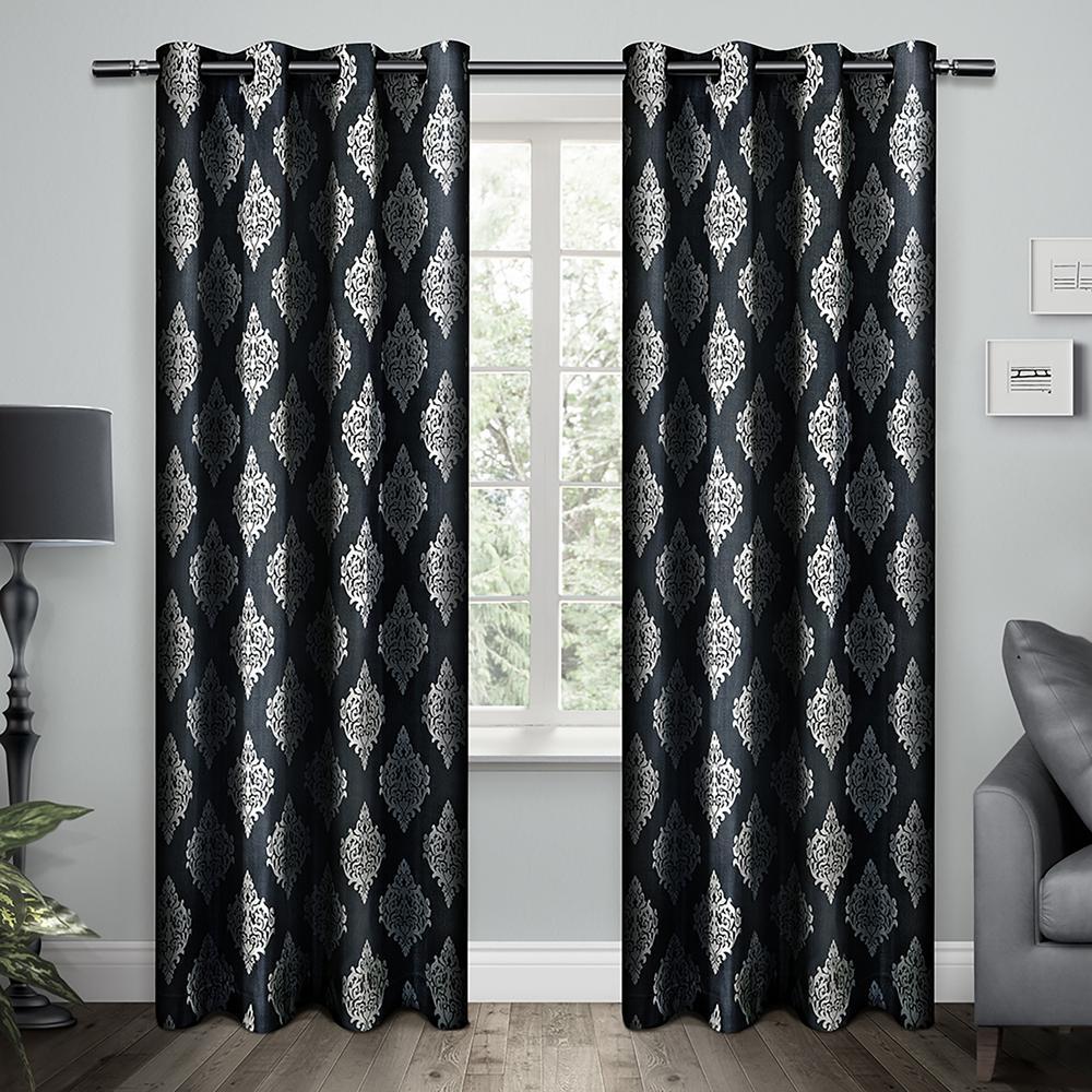 Internet 303956151 Damask Indigo Cotton Medallion Grommet Top Window Curtain