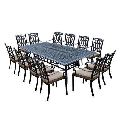 Morocco Aluminum 13-Piece Outdoor Dining Set with Sunbrella Beige Cushions