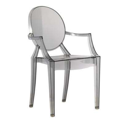 Clear Smoke Arm Dining Chair