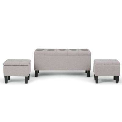 bedroom benches. Dover Cloud Grey 3 Piece Storage Ottoman Bench Bedroom Benches  Furniture The Home Depot