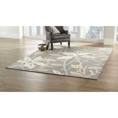 Blooming Flowers Gray 3 ft. x 5 ft. Area Rug