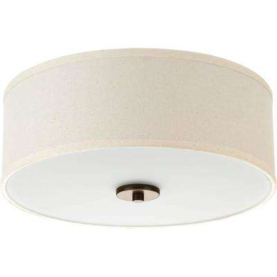 Inspire Collection 2-Light Antique Bronze Flushmount with Off-White Linen Shade