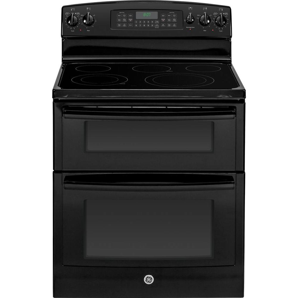 GE 6.6 cu. ft. Double Oven Electric Range with Self-Cleaning Oven in Black