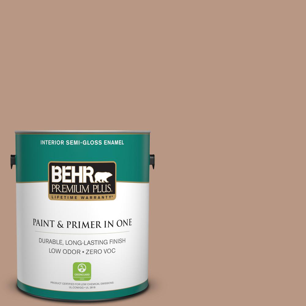 1-gal. #250F-4 Stone Brown Zero VOC Semi-Gloss Enamel Interior Paint