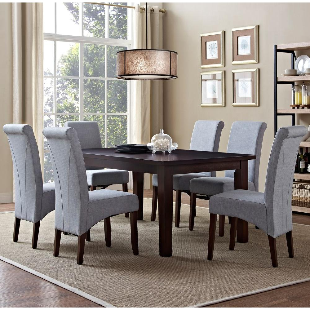 Simpli home avalon 7 piece dove grey dining set axcds7 avl for 7 piece dining room sets under 1000