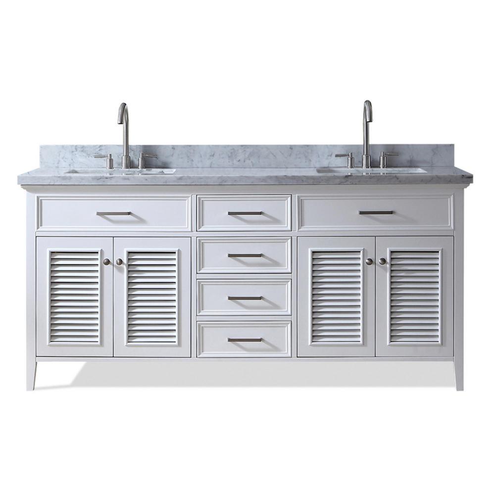 Ariel Kensington 73 in. Bath Vanity in White II with Marble Vanity Top in Carrara White with White Basin