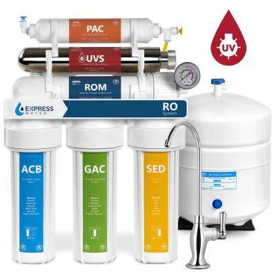 Ultraviolet Under Sink Reverse Osmosis Water Filtration - 6 Stage UV Sterilizer - Faucet and Tank - 100 GPD w/ Gauge