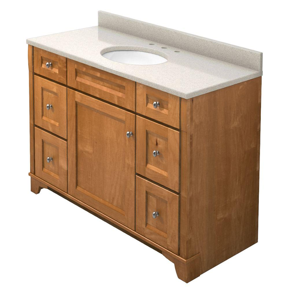 KraftMaid 48 in. Vanity in Praline with Natural Quartz Vanity Top in Natural Almond and White Sink-DISCONTINUED