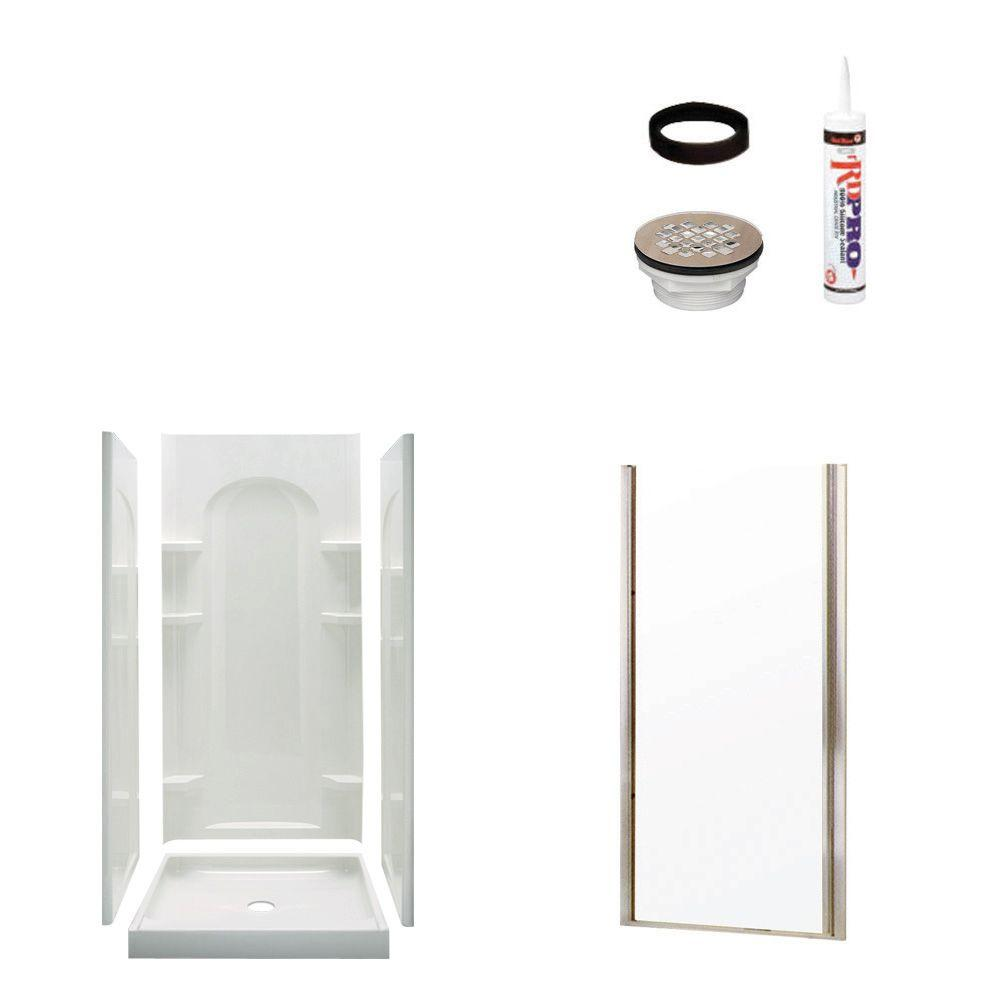 STERLING Ensemble Curve 34 in. x 42 in. x 75-3/4 in. Shower Kit with Shower Door in White/Nickel-DISCONTINUED