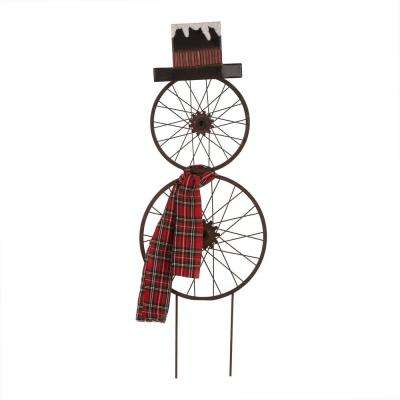 36 in. H Metal Bike Wheel Snowman Yard Stake Wall Dcor