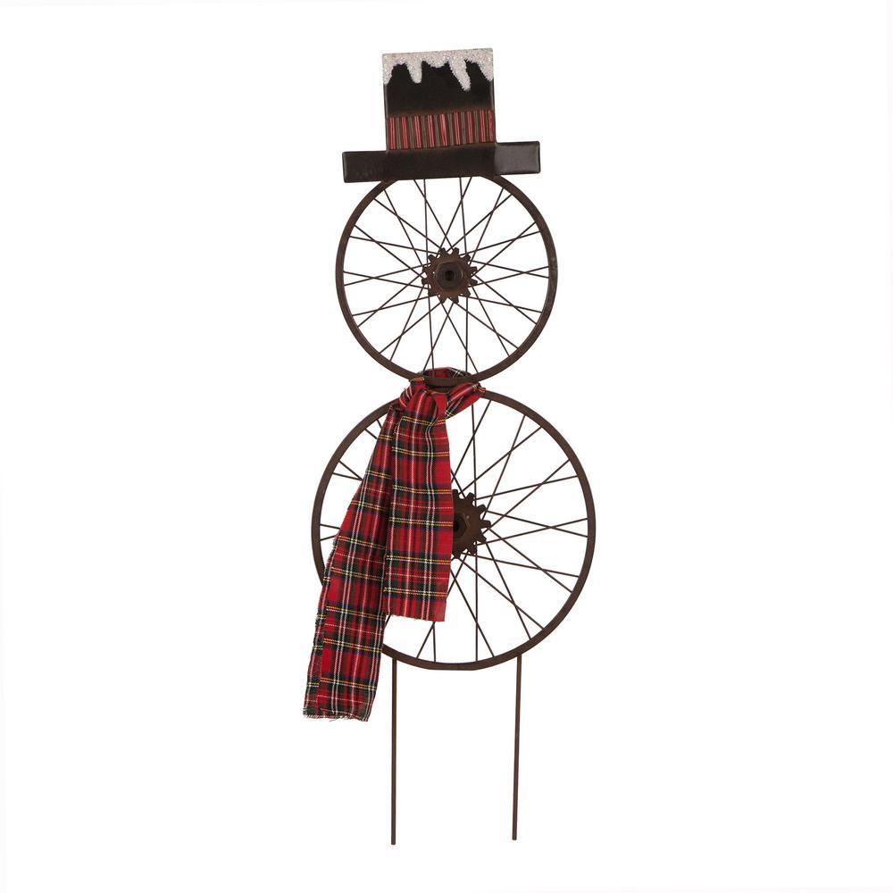 36 in. H Metal Bike Wheel Snowman Yard Stake Wall Dcor