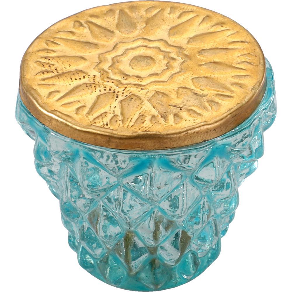 Diamond Cut 1-1/2 in. Green Golden Head Cabinet Knob