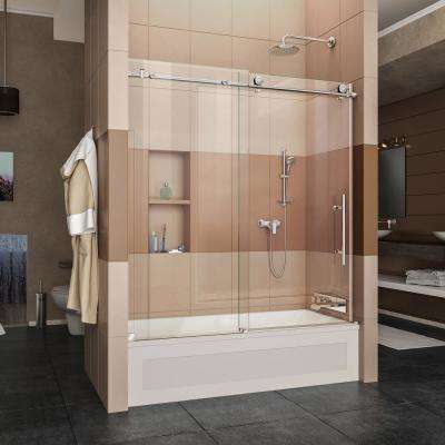Enigma-X 56 in. to 59 in. x 62 in. Frameless Sliding Tub Door in Polished Stainless Steel with Handle