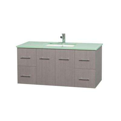 Centra 48 in. Vanity in Gray Oak with Glass Vanity Top in Green and Undermount Sink