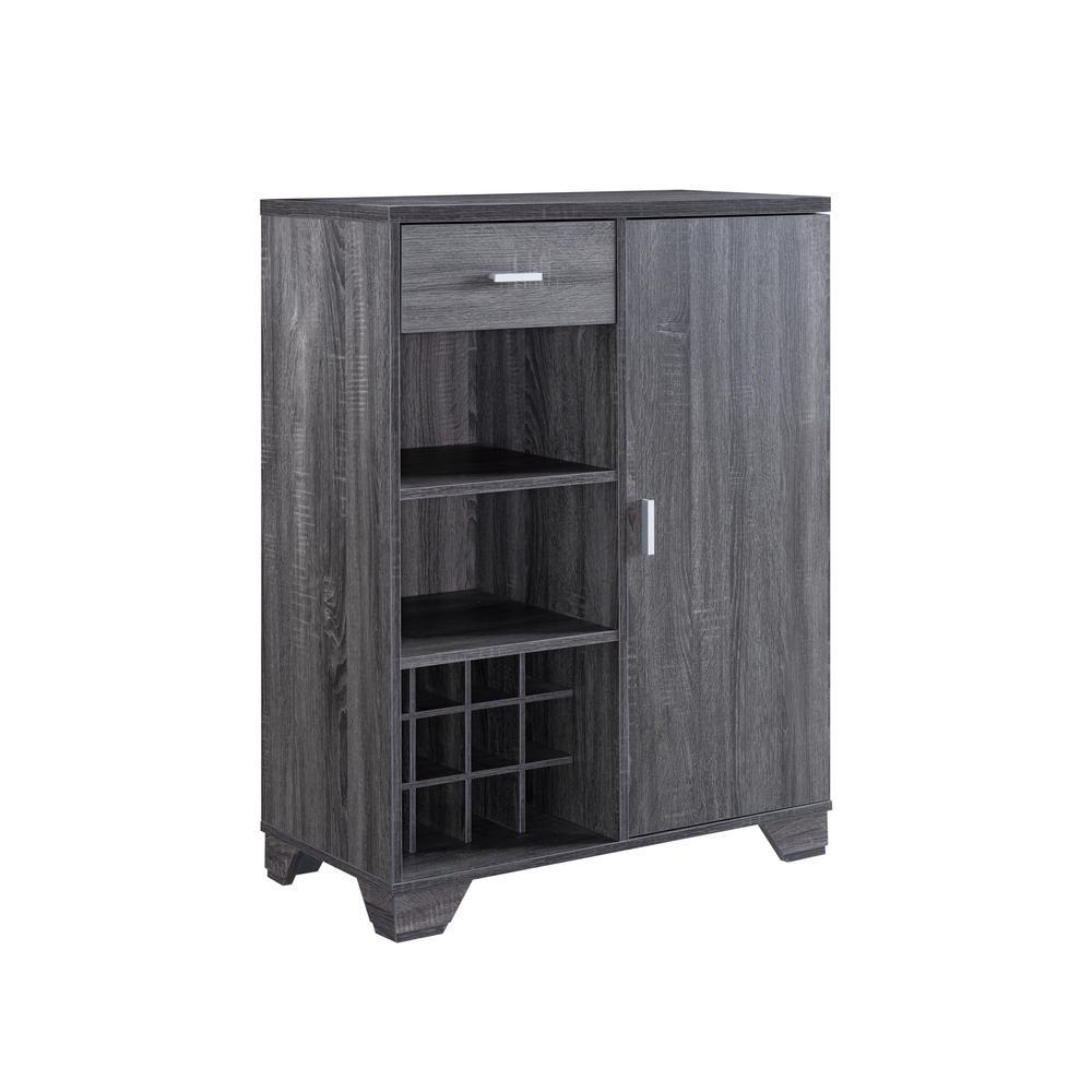 Morchi 12-Bottle Dark Gray Bar-Wine Cabinet