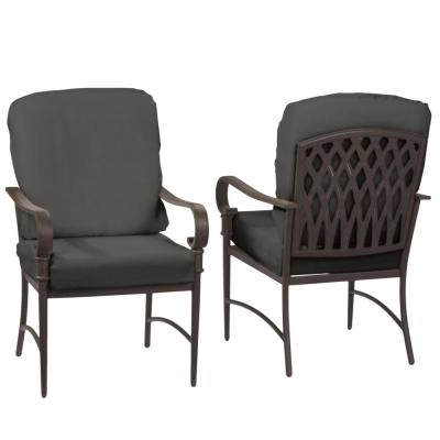 Oak Cliff Brown Steel Outdoor Patio Dining Chair with CushionGuard Graphite Dark Gray Cushions (2-Pack)