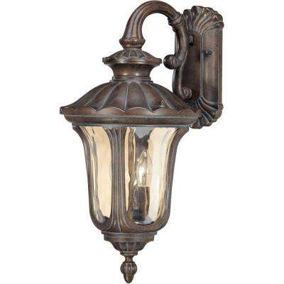 2-Light Outdoor Fruitwood Mid-Size Wall Lantern with Arm Down and Amber Water Glass