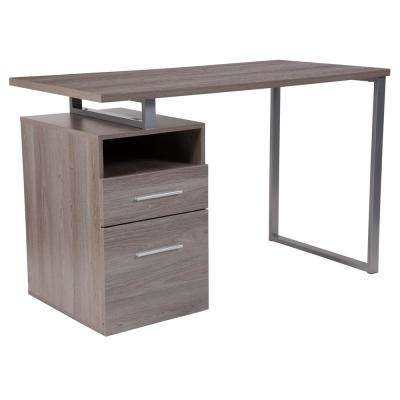 Harwood Light Ash Wood Grain Computer Desk with 2-Drawers and Silver Metal Frame