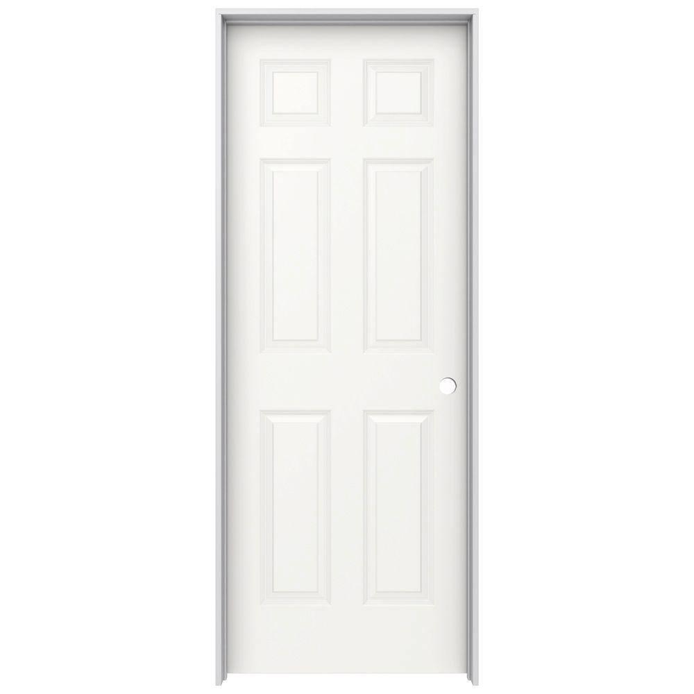 JELD-WEN 30 in. x 80 in. Colonist White Painted Left-Hand Smooth Molded Composite MDF Single Prehung Interior Door