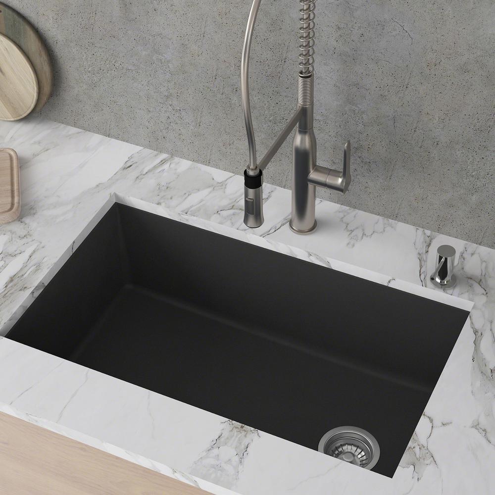 KRAUS Forteza Undermount Granite 32 in. Single Bowl Kitchen Sink in Black