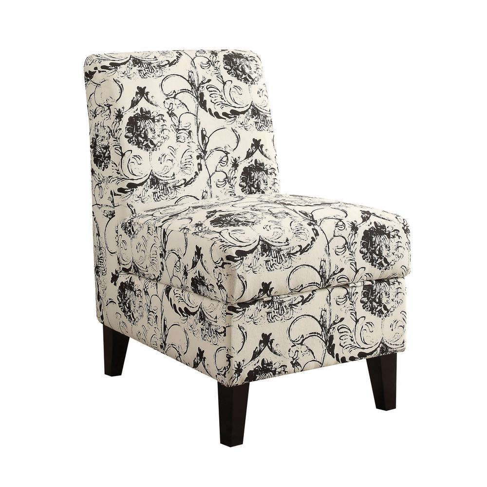 ACME Ollano II Floral Pattern Accent Chair with Storage