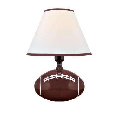 Designer Collection 11.5 in. Football Ceramic Table Lamp with White Fabric Shade