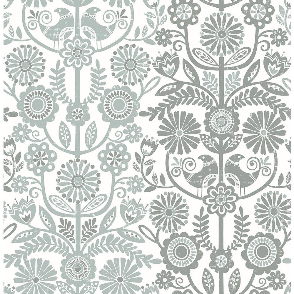 A-Street 56.4 sq. ft. Lovebirds Slate Folk Stripe Wallpaper 2821-25107